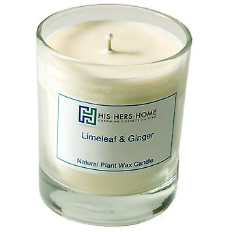HisHersHome Natural Plant Wax Small 20cl Candle Boxed - Limeleaf & Ginger