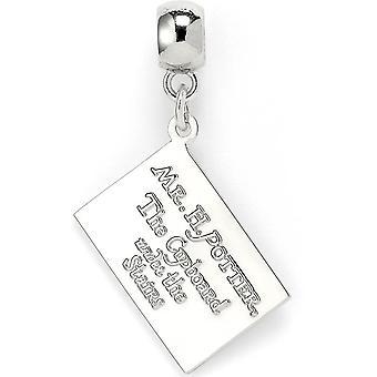Harry Potter Hogwarts hanger zilver/wit, brief van metaal op backer kaart.