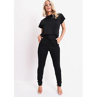 Manica corta squadrata Lounge Co Ord Set nero