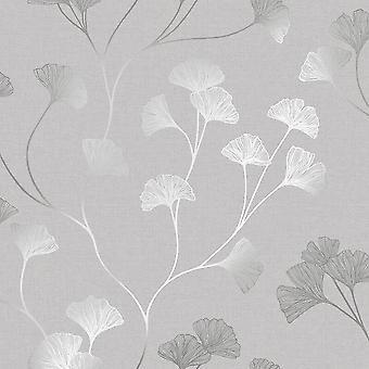 Papier peint floral fleurs gris argent métallisé Shimmer Holden Decor Ginkgo