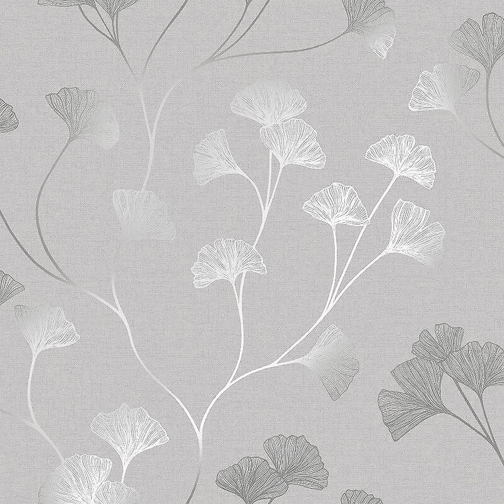 Floral Wallpaper Flowers Grey Silver Metallic Shimmer Holden Decor