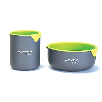 Yellowstone Camping 2 Person Bowl and Mug Set Graphite