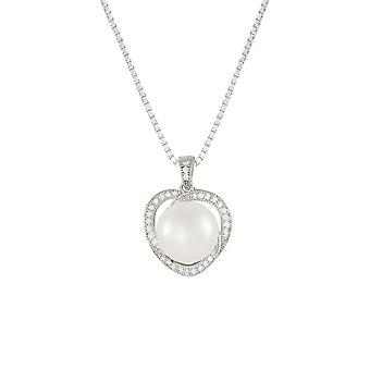 Eternal Collection Fidelity AAA Freshwater Pearl And CZ Sterling Silver Pendant Necklace