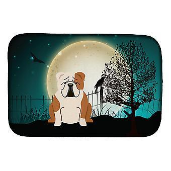Halloween effrayant anglais Bulldog fauve plat blanc Mat de séchage