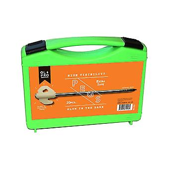 OLPRO Glow in the Dark Tent Peg Stakes Steel with Plastic Hooks Case of 20 x 20cm