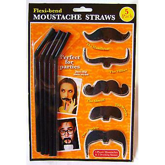 Flexi-bend Moustache Straws