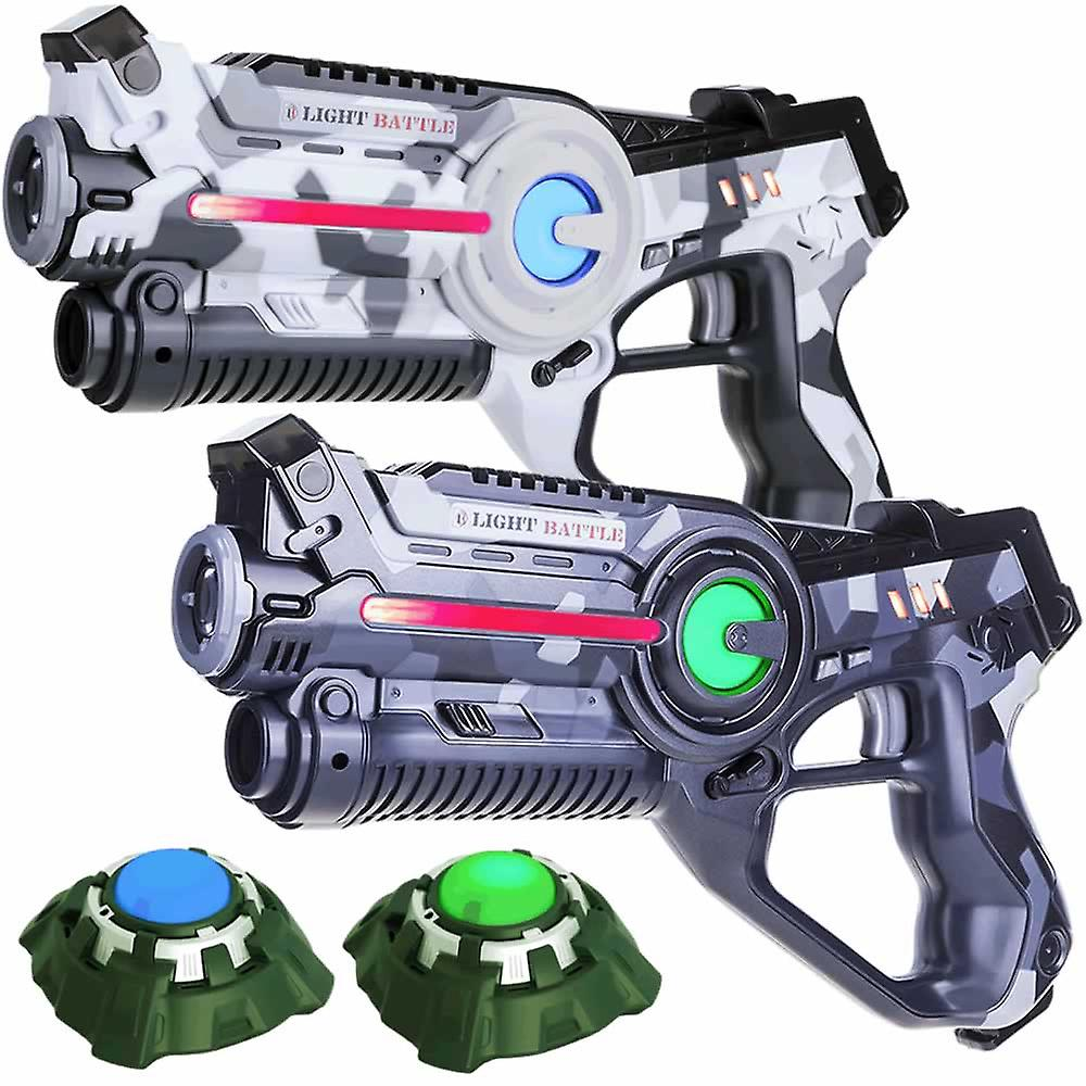 2 Laser guns (camo grey, white) + 2 targets