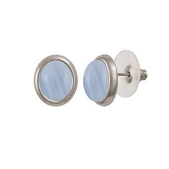Eternal Collection Minuet Blue Lace Agate Gemstone Boucles d'oreilles percées argentées