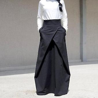 Lommer plisseret satin gulv længde maxi nederdel