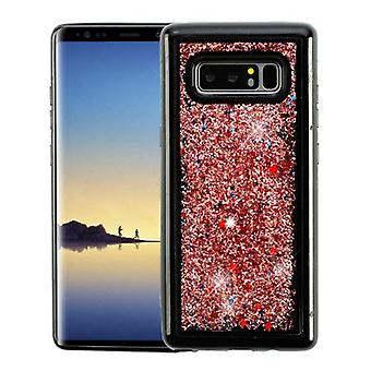 Rose Gold Confetti (Black) Quicksand Glitter Hybrid Protector Cover for Galaxy Note 8