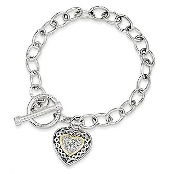 925 Sterling Silver Polished Prong set Toggle Closure finish With 14k .10ct. Diamond 7.25inch Bracelet Jewelry Gifts for