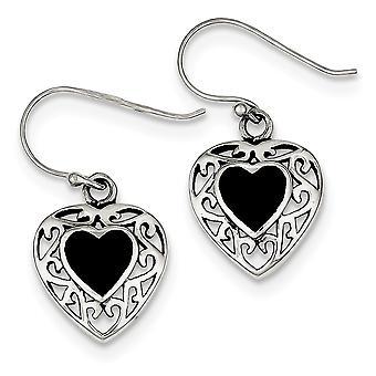 925 Sterling Silver Simulated Onyx Love Heart Shepherd Hook Boucles d'oreilles Bijoux Cadeaux pour les femmes