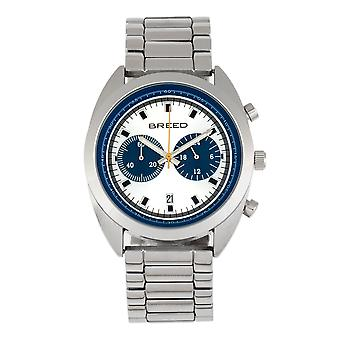 Ras racer kronograf armband klocka w/datum-silver/blå