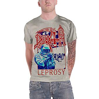 Death T Shirt Leprosy Blue & Red Band Logo new Official Mens Off White