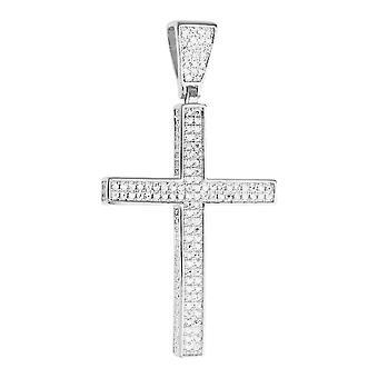Premium Bling - 925 Sterling Silber Kreuz Anhänger