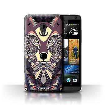 STUFF4 Case/Cover for HTC Desire 700/Wolf-Maroon/Aztec Animal