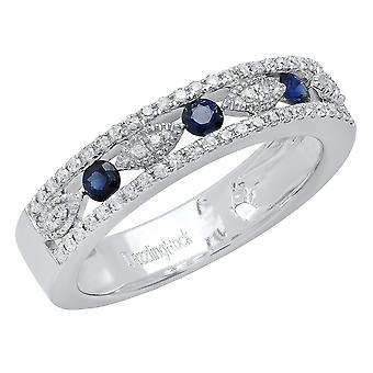 Dazzlingrock Collection 14K Round Blue Sapphire and White Diamond Ladies Anniversary Wedding Band, White Gold