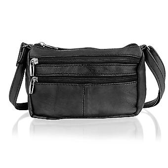"Black Leather Small Clutch Style 5.0"" Hand Bag Adjustable Shoulder Strap"