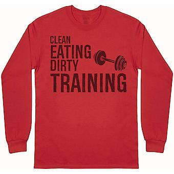 Clean Eating Dirty Training - Mens Long Sleeve T-Shirt