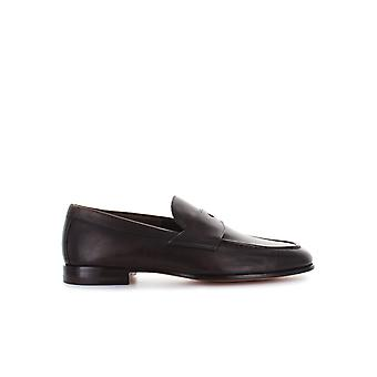 SANTONI DARK BROWN LEATHER COLLEGE UNLINED MOCCASIN