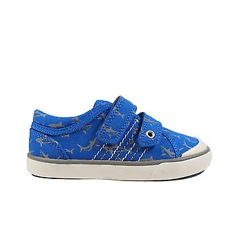 Startrite Wave Blue Canvas With Shark Motif Boys Rip Tape Casual Shoes