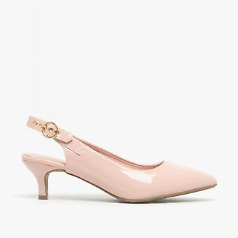 Comfort Plus Millie Ladies Patent Sling Back Court Shoes Nude