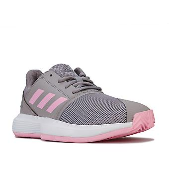 Children Girls adidas Courtjam Trainers In Grey- Lace Fastening- Cushioned