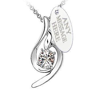 Ciondolo in argento collana di Birthstone incisa