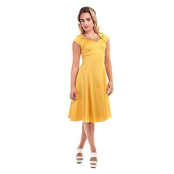 Collectif Vintage Women's 1950's Yellow Regina Daisy Doll Dress
