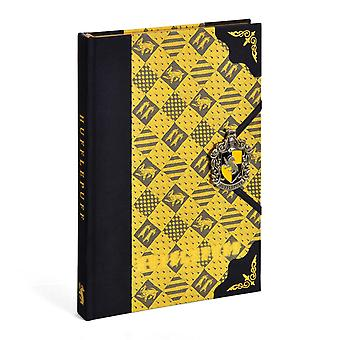 Harry Potter Premium Notebook Hufflepuff Coat of Arms Yellow, Hardcover, Bound, With Handemailed Emblem, Lined.