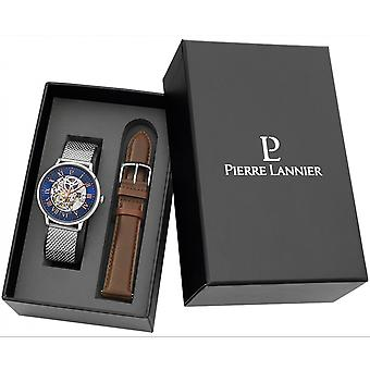 Pierre Lannier 391C168-automaattinen Watch Bo Tier Steel kiillotettu Dial sininen indeksi tai Roman nousi