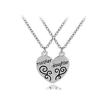 Women-apos;s Girls 'apos;Mother Daughter'apos; Pendant Necklace Set Two Halves Love Heart