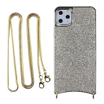 CaseGate phone chain for Apple iPhone 11 phone chain necklace case cover - in silver - made of flexible TPU silicone