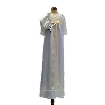 Dopklänning Och Dophätta I Off White Och Bred Rosett. Ma.la