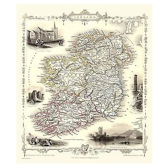 Histórico portal Ireland 1851 mapa John Tallis 1000 jigsaw pedaço 690mm x 480mm (JG)