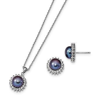 925 Sterling Silver Rh 8 9mm Blk Freshwater Cultured Pearl Earrings/ Necklace Set Jewelry Gifts for Women