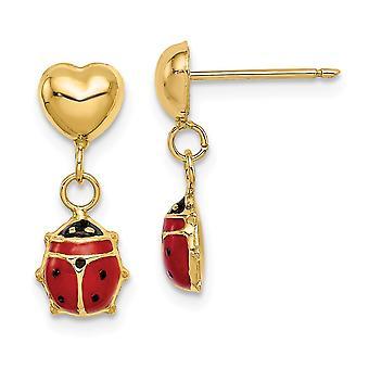 14k Madi K Love Heart och Enameled Ladybug Dangle Post Örhängen Smycken Gåvor för kvinnor - 0,8 gram