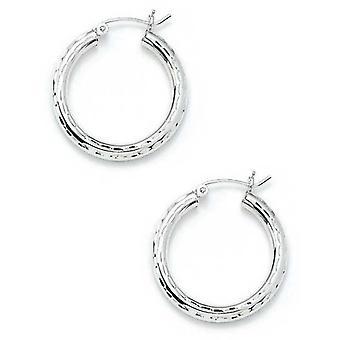 925 Sterling Silver 3x25mm Sparkle Cut Hoop Earrings Jewelry Gifts for Women
