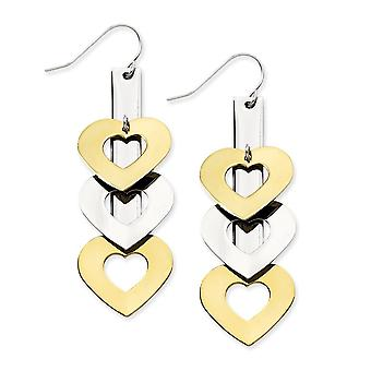 Stainless Steel Ip 14k Gold Plated Shepherd hook and Polished Love Hearts Long Drop Dangle Earrings Jewelry Gifts for Wo
