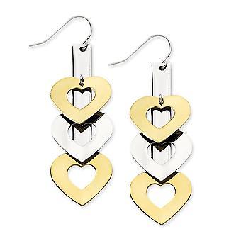 Edelstahl Ip Gold flashed Shepherd Haken gelb IP plattiert und poliert Liebe Herzen lange Tropfen Baumschminken Juweliere