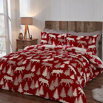 Winter Elch rot Flanell Fleece Xmas Dezs Bettwäsche - Reversible Bettbezug und Kissenbezug Set