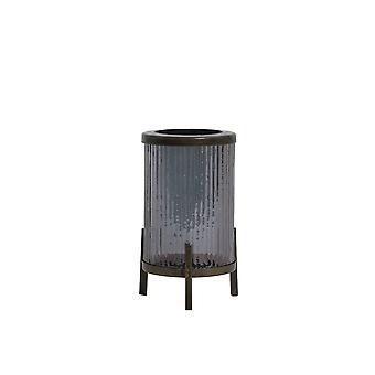 Light & Living Hurricane 7x10cm - Tibir Glass Grey Luster And Antique Bronze