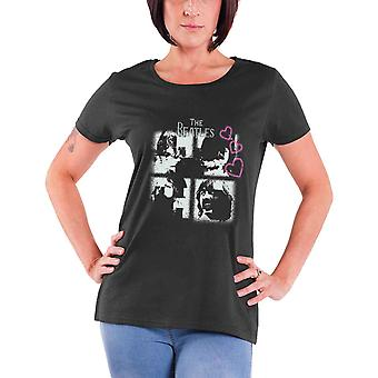 The Beatles T Shirt Qu'il soit coeurs de strass official Womens New skinny fit