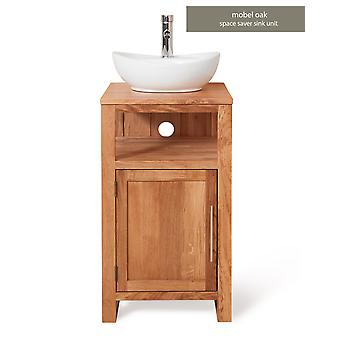 Baumhaus Mobel Oak Bathroom Collection Single Door Sink Unit Round