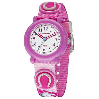 JACQUES FAREL Kids Polshorloge Analog Quartz Girl Textile Ribbon KPA 1011 Paard