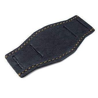 Strapcode miliitary watch strapmatte black geniune clafskin leather bund pad for 20mm watch straps, military green wax stitching, xl