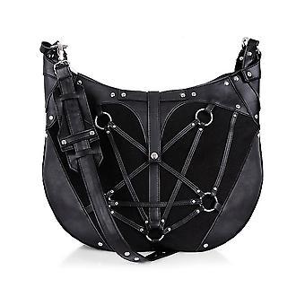 Restyle - pentagram hobo bag - black, harness purse, occult, black fashion