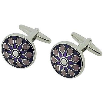 Jakob Strauss Gents Silvertone Round Purple & Lilac Flower Design Cufflinks