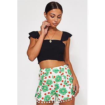 & Weiße Gänseblümchen Pom Pom Shorts