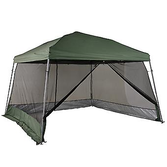 Outsunny 3.6 x 3.6m Outdoor Garden Pop-up Gazebo Canopy Tent Sun Shade Event Shelter Folding with Mesh Screen Side Walls - Green